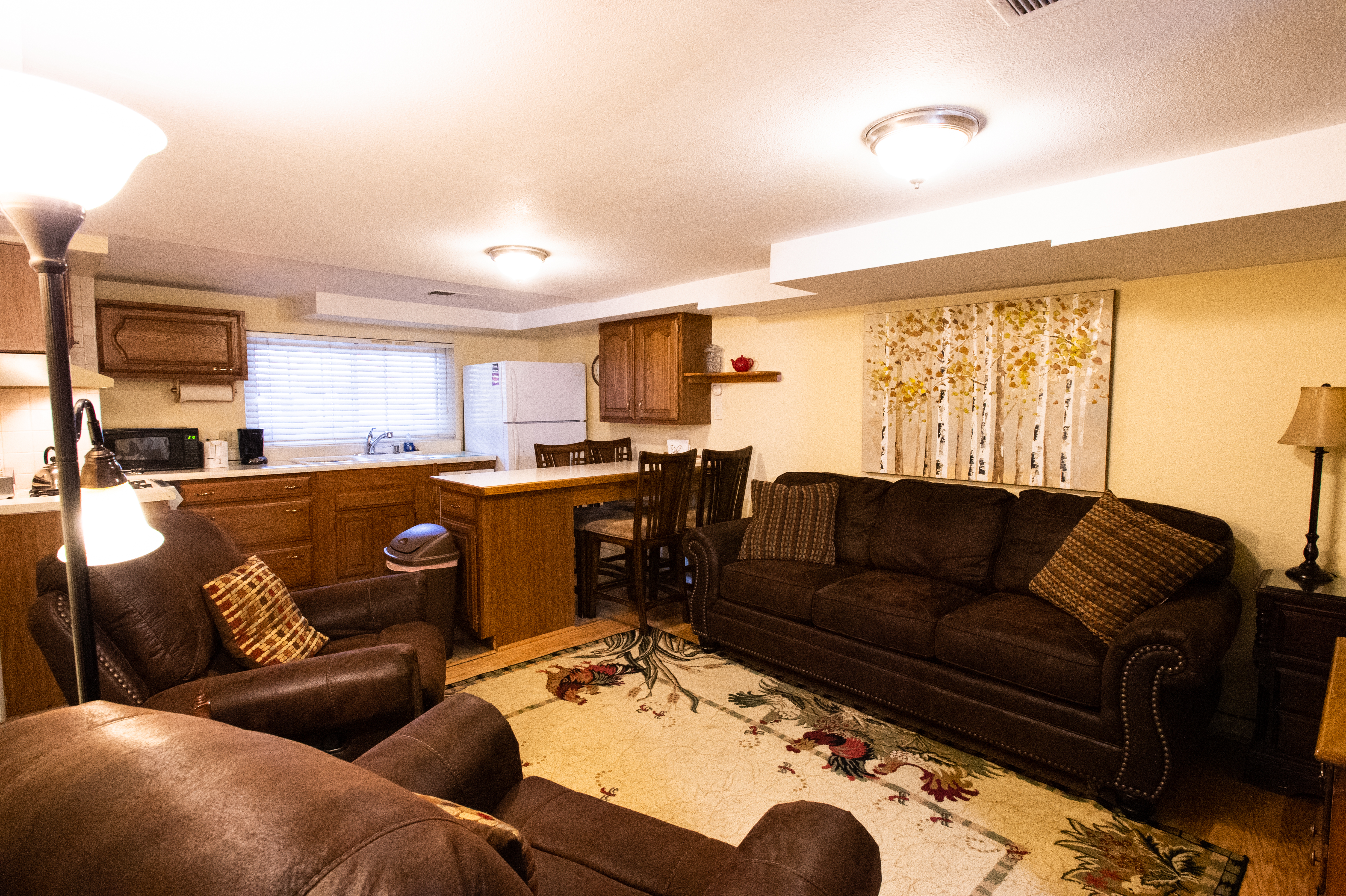 Living Room, Kitchen, and Dining Area