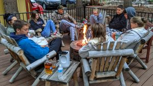 Guests at the new fire pit