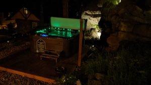 New Hot Tub - Green Lights at Night