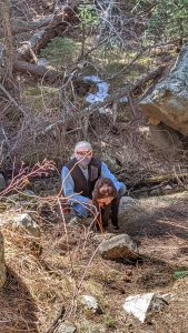 Tommy and Chica on the Trail in Corwina Park