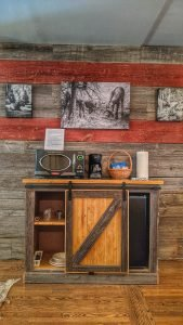Farmhouse Room Barn Wood Accent Wall and Kitchenette